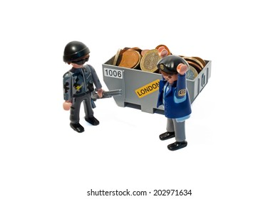 Germany, Frankfurt - June 16, 2014: Robbery scene with guard and thief.