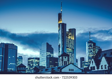 Germany Frankfurt am Main skyline at dusk