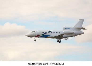 GERMANY, FRANKFURT - SEPTEMBER 05, 2015: Dassault Falcon 900EX, VP-CGE of VW Air Service approach and landing at Frankfurt Airport