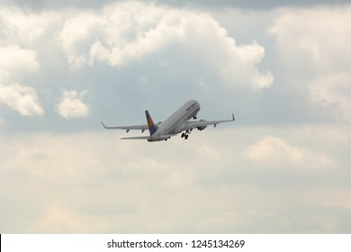 GERMANY, FRANKFURT - SEPTEMBER 05, 2015: Embraer ERJ-190LR, D-AECD of Lufthansa takes off at Frankfurt Airport. Regular flights by plane Lufthansa