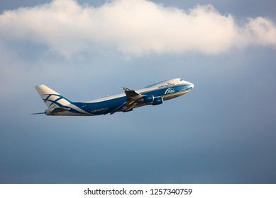 GERMANY, FRANKFURT - SEPTEMBER 05, 2015: Boeing 747-46NF(ER), VP-BIK of AirBridge Cargo flies in the sky