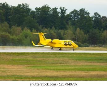GERMANY, FRANKFURT - SEPTEMBER 05, 2015: Learjet 60XR, D-CURE Aero-Dienst takes off at Frankfurt Airport