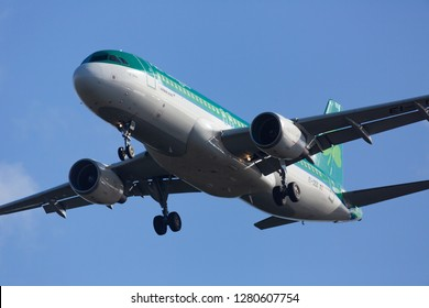 GERMANY, FRANKFURT - SEPTEMBER 06, 2015: Airbus A320-214, EI-DEE of Aer Lingus takes off at Frankfurt Airport