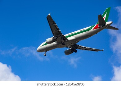 GERMANY, FRANKFURT - SEPTEMBER 06, 2015: Airbus A320-216, EI-DTE of Alitalia flies in the sky