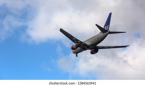 GERMANY, FRANKFURT - SEPTEMBER 06, 2015: Boeing 737-683, LN-RCU of SAS flies in the sky