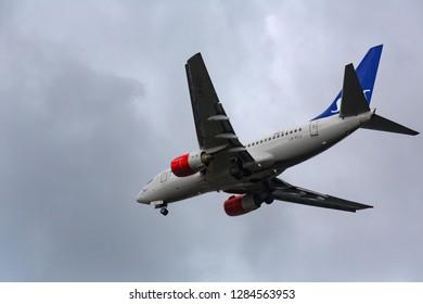 GERMANY, FRANKFURT - SEPTEMBER 06, 2015: Boeing 737-683, LN-RCU of SAS approach and landing at Frankfurt Airport