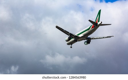 GERMANY, FRANKFURT - SEPTEMBER 06, 2015: Airbus A320-216, EI-DTE of Alitalia approach and landing at Frankfurt Airport