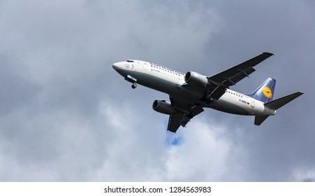 GERMANY, FRANKFURT - SEPTEMBER 06, 2015: Boeing 737-330, D-ABEE of Lufthansa flies in the sky