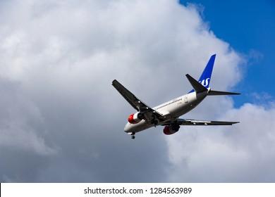 GERMANY, FRANKFURT - SEPTEMBER 06, 2015: Boeing 737-783, LN-RNN of SAS approach and landing at Frankfurt Airport
