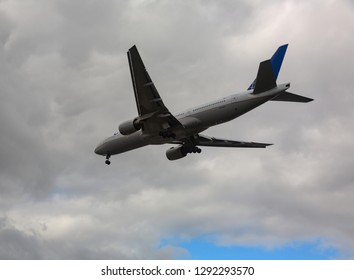 GERMANY, FRANKFURT - SEPTEMBER 06, 2015: Boeing 777-222(ER), N221UA of United Airlines soars into the sky