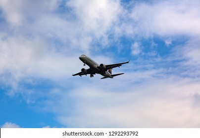 GERMANY, FRANKFURT - SEPTEMBER 06, 2015: Embraer ERJ-190LR, D-AECE of Lufthansa flies in the sky