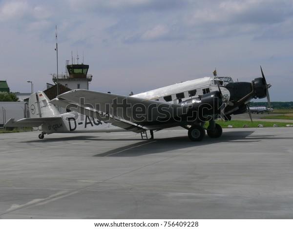 GERMANY, FRIEDRICHSHAFEN, AUGUST 14, 2010: Junkers Ju 52 visits Friedrichshafen for sightseeing flights.