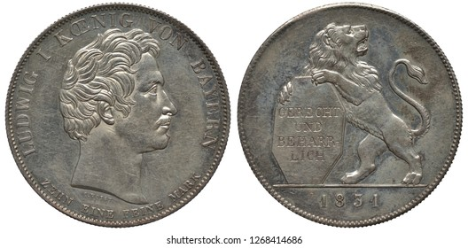 Germany German Bavaria Bavarian silver coin 1 one thaler 1831, subject Opening of Legislature, head of King Maximilian right, lion supporting shield with inscription in German Fair and Persistent, dat