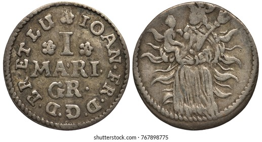 Germany German Braunschweig Lüneburg silver coin 1 one mariengrosch ND (1665-1679), value flanked by rosettes, Madonna with child on radiant background, ruler Johann Friedrich,