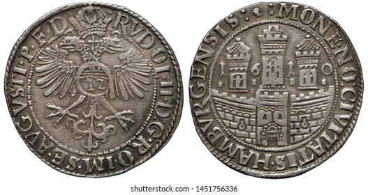 Germany German City of Hamburg silver coin 32 thirty two shillings (thaler) 1610, crowned eagle within central circle, three towers behind fragment of fortress wall with gate divide date,