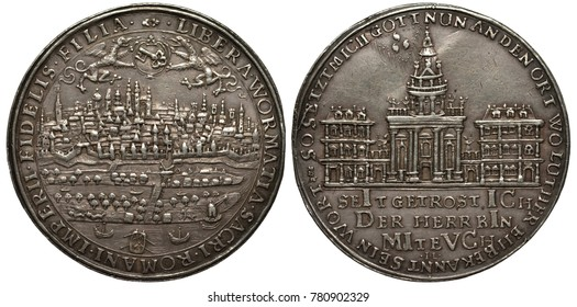 Germany German City of Worms silver coin 1 one thaler 1709, subject Beginning of erection of Saint Trinity Church, city skyline, numerous channels with boats in front, church flanked by smaller buildi