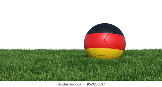 Germany German flag soccer ball lying in grass, isolated on white background. 3D Rendering, Illustration.
