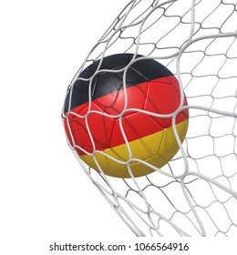 Germany German flag soccer ball inside the net, in a net. Isolated on white background. 3D Rendering, Illustration.