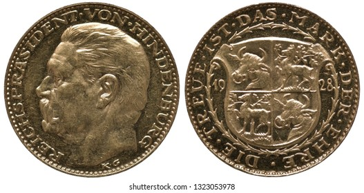 Germany German golden medal 1928, subject President Von Hindenburg, head left, shield with bull's head and deer divides date,