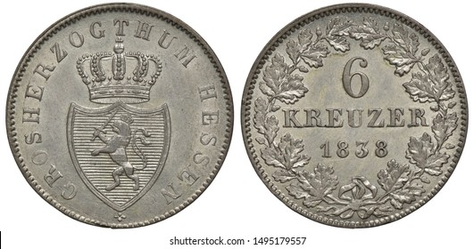 Germany German Grand Duchy of Hessen silver coin 6 six kreuzer 1838, arms, crowned shield with lion holding sword, denomination and date within oak wreath,