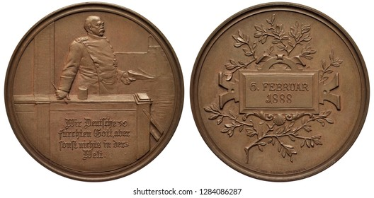 Germany German medal 1888, subject Chancellor Bismarck speech in Reichstag February 6,