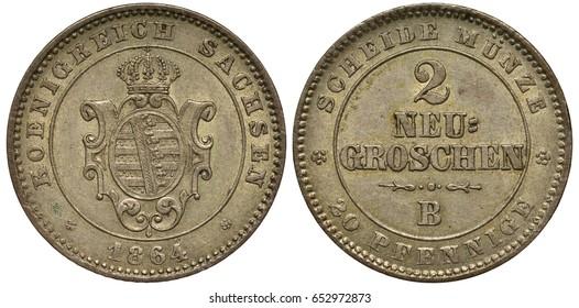 Germany German Saxony Saxon silver coin 2 two groschen / 20 twenty pfennig 1864, royal shield in circle, date below, value,