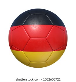 Germany German soccer ball with national flag. Isolated on white background. 3D Rendering, Illustration.