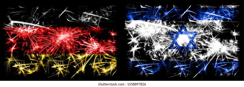 Germany, German vs Israel, Israeli New Year celebration travel sparkling fireworks flags concept background. Combination of two abstract states flags.