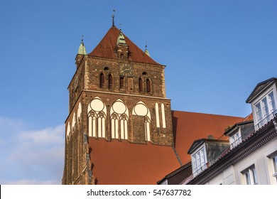 Germany, Greifswald: Steeple of the Lutheran St. Marien church (St.-Marien-Kirche).