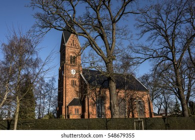 Germany, Greifswald, Wieck - December 30, 2016: local neo-Romanesque church (Bugenhagenkirche) of the small fishing village.
