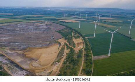 Germany, Hambach  May. 2018 RWE wind turbines field and coal mine Landscape