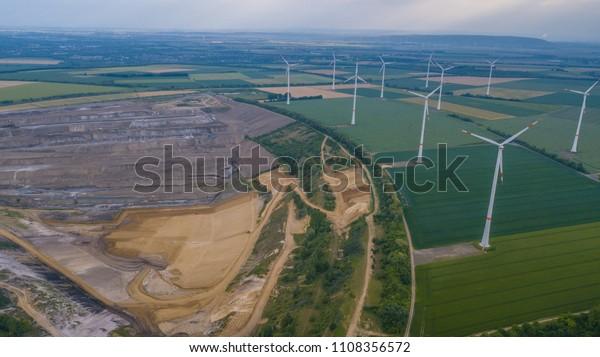 Germany, Hambach  May. 2018 RWE wind turbines field and coal mine Landscape