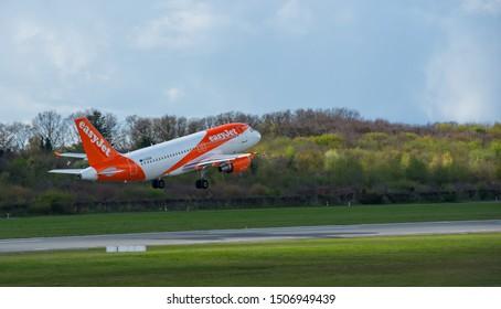 Germany - Hamburg, April 17, 2017: EasyJet Airline aircraft at the start on the runway Hamburg airport - Hamburg Airport