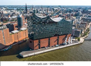 Germany, Hamburg, August 2019 - Aerial view of Elbphilharmonie in Hamburg