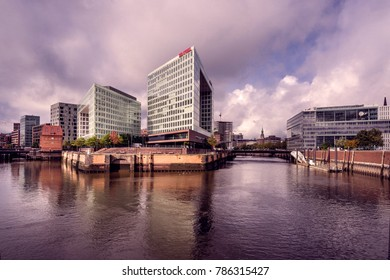 Germany, Hamburg, Ericusgraben: Panoramic view from Oberhafen Bridge with Headquarters of Spiegel publishing house in the city center. October 09, 2017