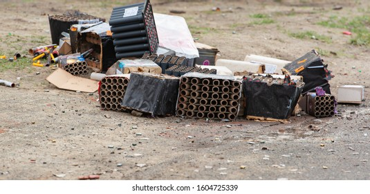 Germany, Hamburg - January 01, 2020: Fireworks waste after the New Year's Eve night with the company logo WEKO on New Year