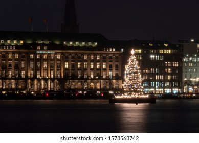 Germany, Hamburg - November28, 2019: Alsterufer, Hapag-Lloyd AG, transport and logistics company based in Hamburg, Christmas tree named Alstertanne.