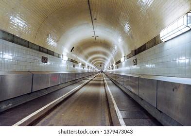 Germany. Hamburg. Old tunnel under the river Elbe in Hamburg. February 13, 2018