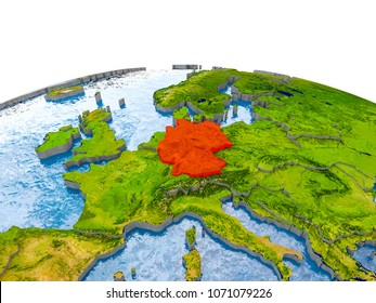 Germany highlighted in red on globe with realistic land surface, visible country borders and water in place of oceans. 3D illustration. Elements of this image furnished by NASA.