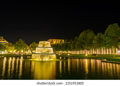 Germany, Illuminated fountain in Wiesbaden city park in the night