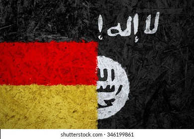 Germany and Islamic State of Iraq and the Levant flags on the concrete texture