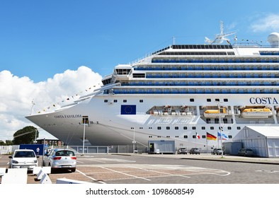 Rostock-Warnemünde, Germany - July 14, 2017: The cruise ship Costa Favolosa of the shipping company Costa Crociere has moored at the pier in Rostock-Warnemunde. It was on a 7-night cruise to Denmark a
