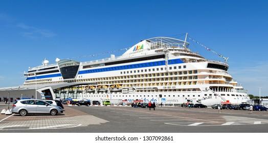 Warnemünde, Germany - July 14, 2017: The cruise ship AIDAdiva of AIDA Cruises has moored at the cruise terminal