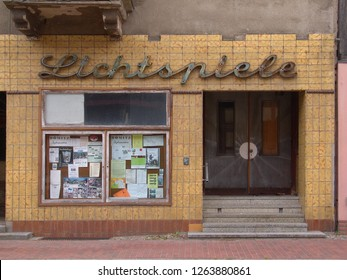 Dömitz, Germany - July 17, 2005: facade of an abandoned vintage cinema -  Dömitz (Elbe) is a place on the former inner-German border in Mecklenburg-Vorpommern (Mecklenburg-Western Pommerania)