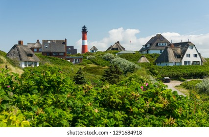 Hörnum, GERMANY - July 18, 2017:  The Lighthouse Hörnum on the Island Sylt.  Hörnum is located on the southern tip of Sylt. Most of the municipal territory is covered by nature reserves (Hörnum Odde).