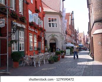 Lüneburg, Germany - July 19, 2005: the pedestrian zone Heiligengeiststr. on a sunny summer day