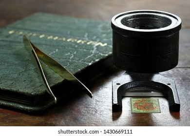 GERMANY - JUNE 16, 2019: linen tester with 5 cent Geneva cantonal stamp from 1847.