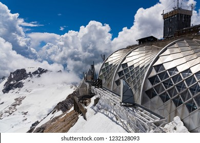 Germany - June 2, 2018: Part of the installations on Zugspitze, the highest mountain in the country, home to three glaciers and Germany's highest ski resort.