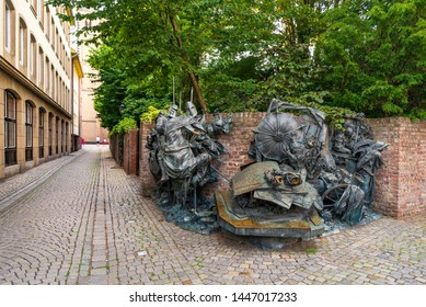 Düsseldorf, Germany - JUNE 2019: View of Stadterhebungsmonument, famous beautiful bronze relief sculpture monument commemorate and honour the Düsseldorf receiving city rights, located in Old town.