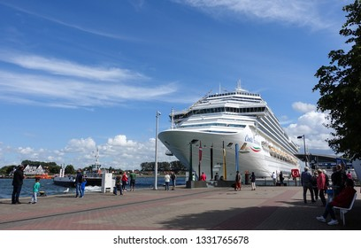 Warnemünde, Germany - June 22, 2018 - Cruise ship 'Costa Favolosa' in the harbor